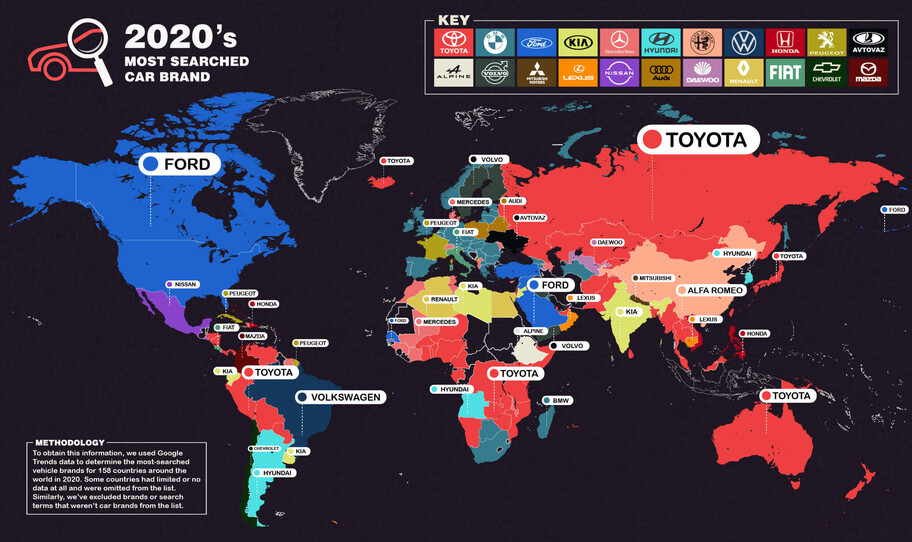 Estas fueron las marcas de autos más Googleadas en cada país durante 2020