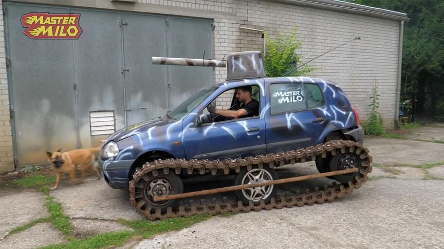 Un Renault Clio convertido en tanque, la nueva obra de MasterMilo