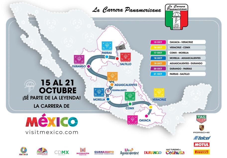 La Carrera Panamericana -en su 34ª edición- será del 15 al 21 de Octubre del 2021 en México